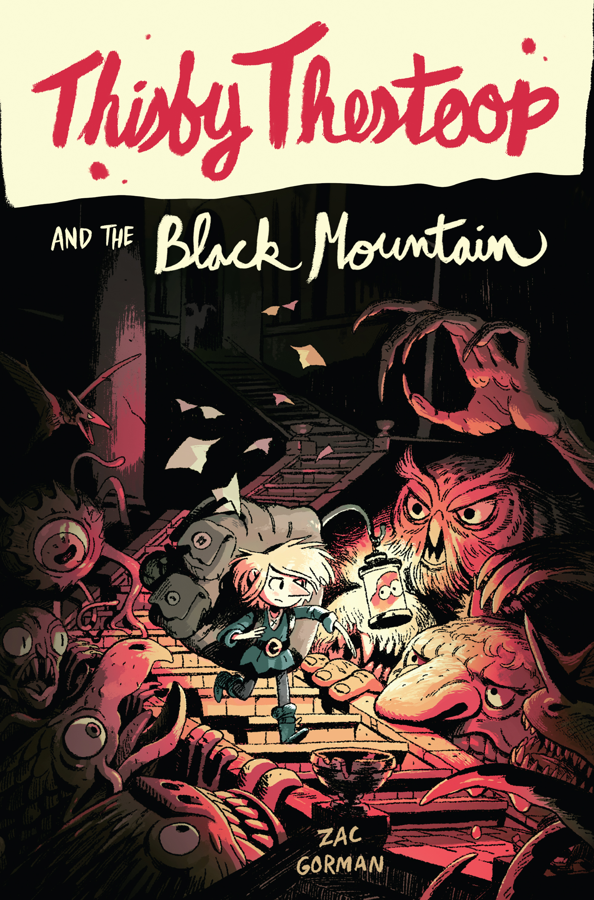 - THISBY THESTOOP and the Black Mountain(HarperCollins, April 2018)Translations:France (Editions Milan)On any given day, Thisby Thestoop can be found up to her nose in griffin toenails, gnoll spittle, and troll meat (to give to them, not made of them). And now, as the gamekeeper for the Black Mountain dungeon, Thisby has been roped into another job—saving the princess's skin.When the prince and princess arrive for a Royal Inspection, Princess Iphigenia winds up lost in the tunnels of the dungeon—without her guards or her younger twin brother—and it's up to Thisby to guide her safely past the hoards of minotaurs, wyverns, ghouls, and who-knows-what-else that would love nothing more than to nosh the royal highness for dinner.Thisby and Iphigenia have a dangerous adventure ahead of them. If they're going to rescue the missing prince, stop a mounting war, and keep safe all the creatures who call the mountain dungeon home, they'll have to learn how to trust each other.