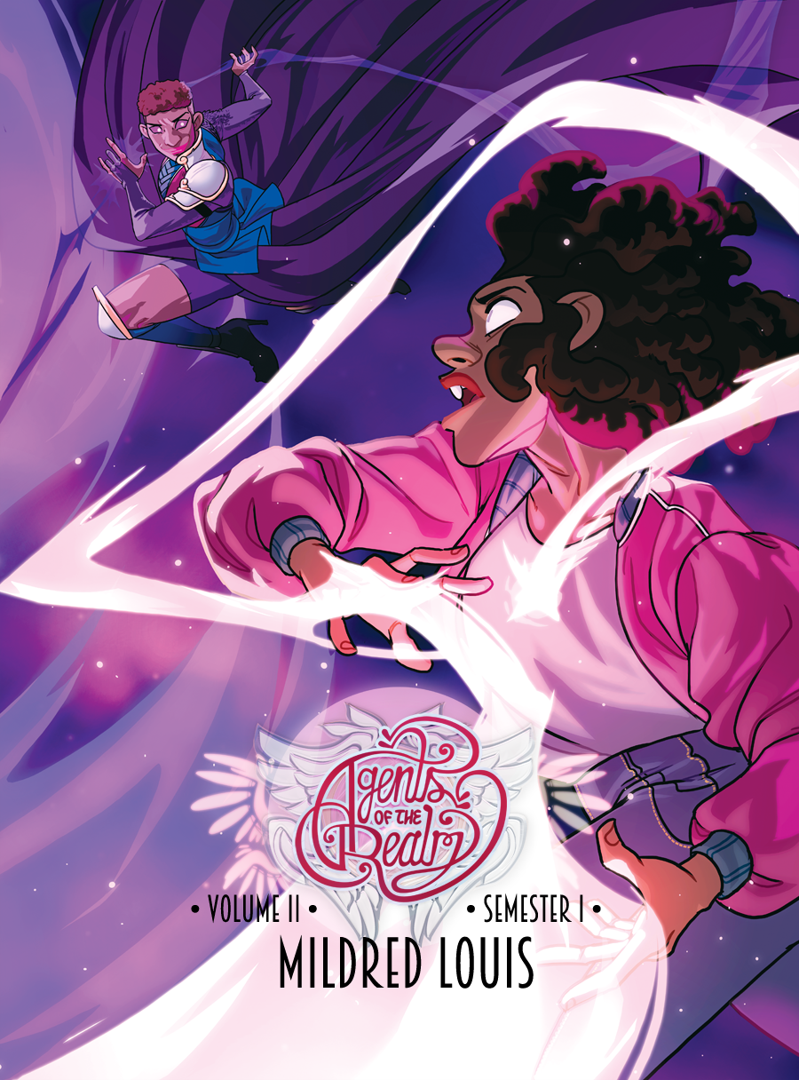 - AGENTS OF THE REALM volume 2(Ongoing at https://www.agentsoftherealm.com)2018 Slate Cartoonist Studio Prize nomineeShortly after starting their first year at Silvermount University, five young women discover they've each been chosen to protect our world and its newly discovered sister dimension.Join Norah, Adele, Kendall, Paige, and Jordan as they navigate the complexities of college and discover that they have more strength than they've ever imagined.