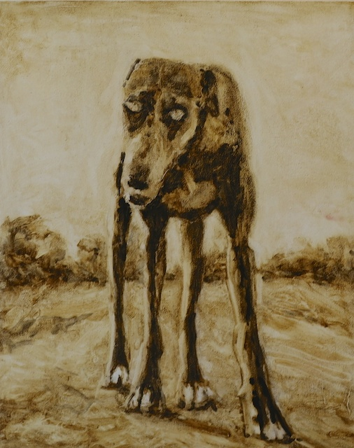 Ghost Dog,  Oil on Wood, 16 x 20 inches, 2014