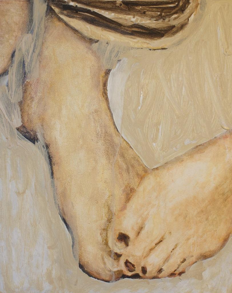 Feet, 12 x 16, oil on wood panel