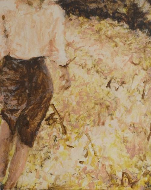 woman walking, 12 x 16, oil on wood panel