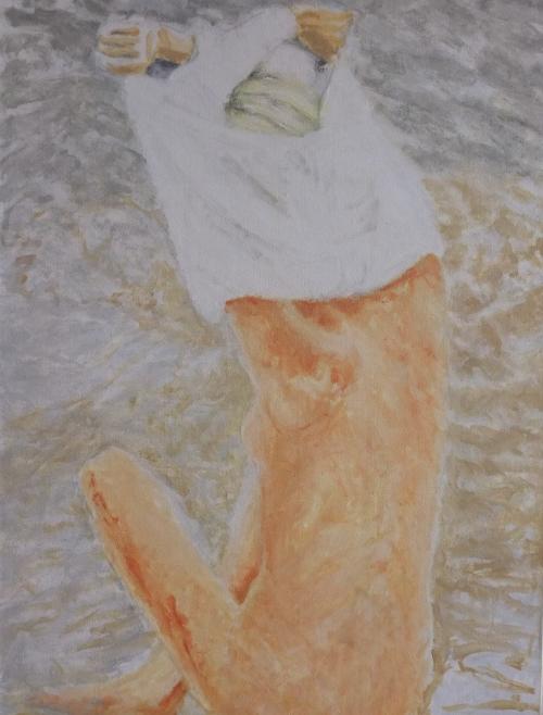 """Woman on rocks, 12 x 16"""", oil paint on wood panel"""