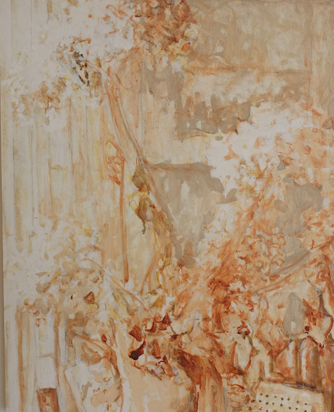 Brown Flowers,  Oil on Wood, 16 x 20 inches, 2015