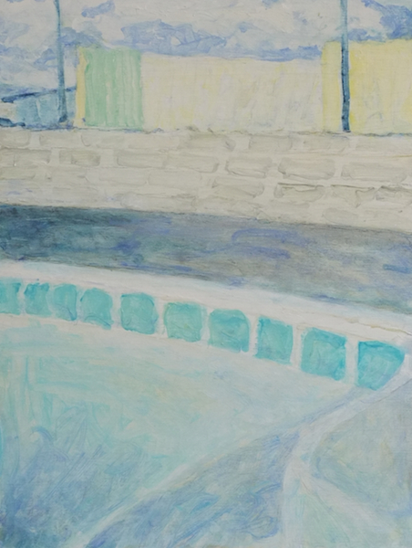 Empty Pool,  Oil on Wood