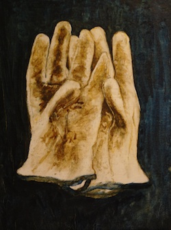 Garden Gloves,  Oil on Wood