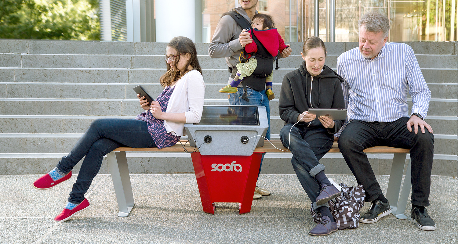 Meet the  Soofa Bench . Solar powered USB charging for the public, sensor inside to measure park activity happening nearby.