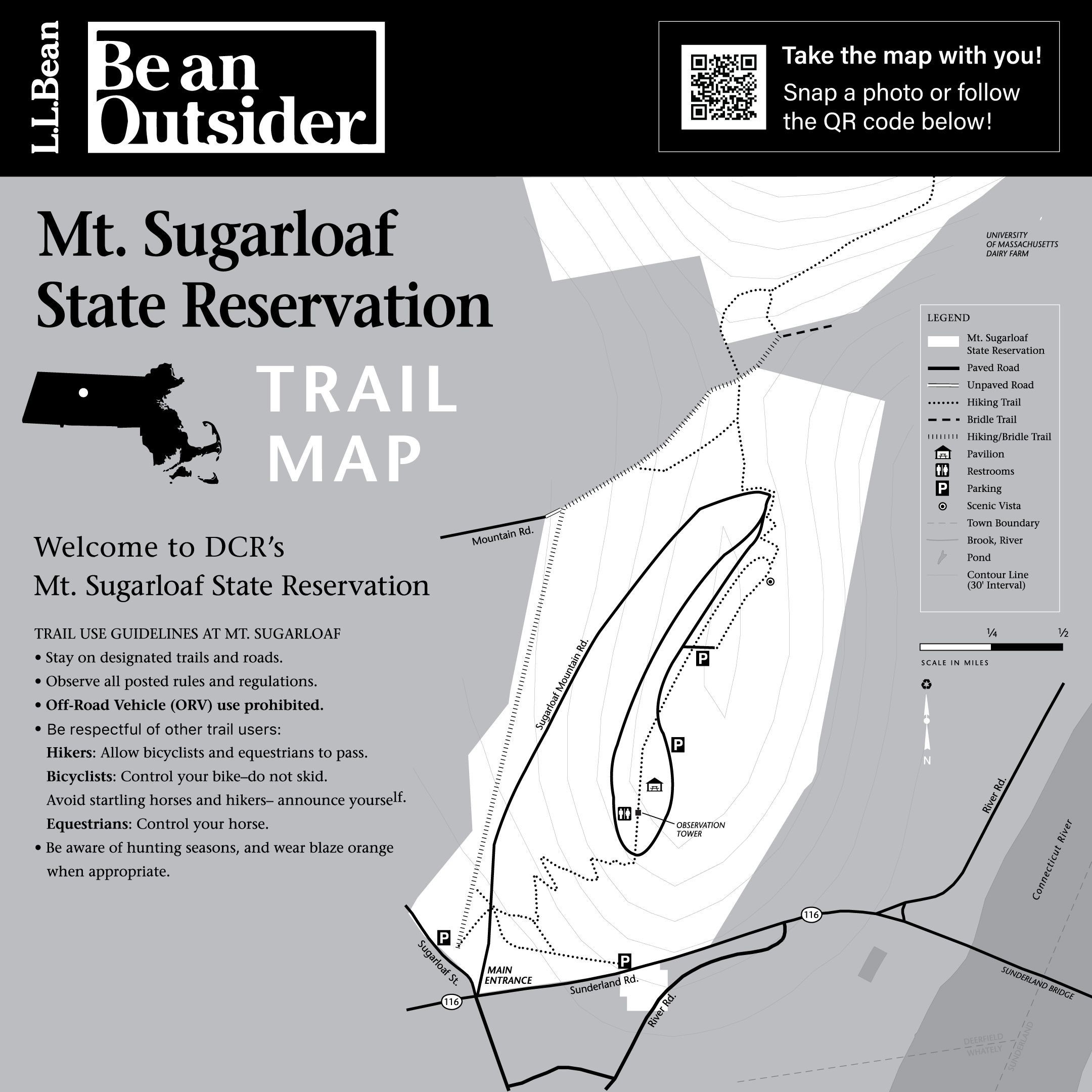 An advertisement from the Seaport L.L. Bean brick-and-mortar store shows trail maps for Mt. Sugarloaf State Reservation.