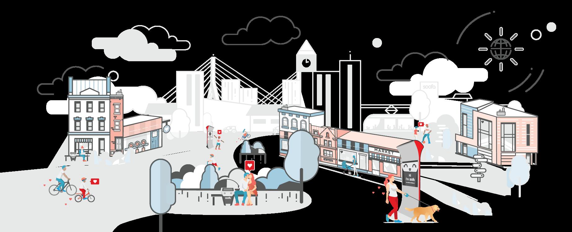 Soofa smart cityscape graphic