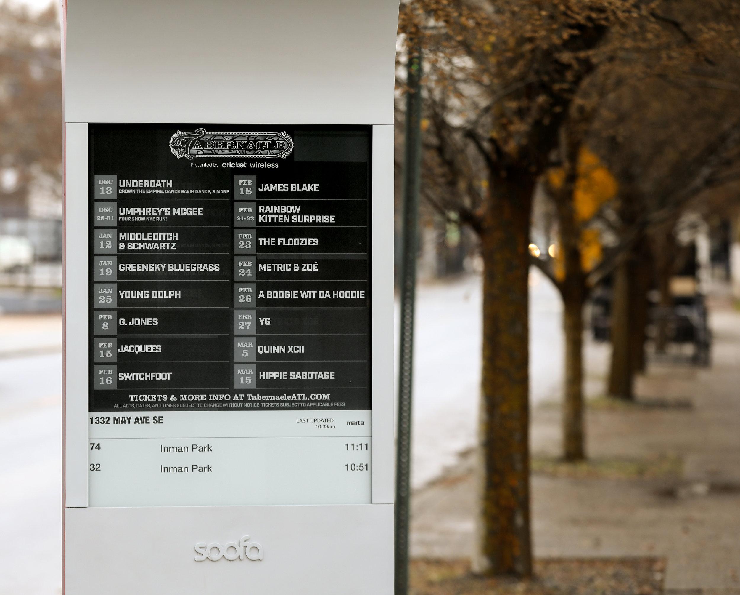 Live Nation uses high contrast design to display their Atlanta concert calendar.