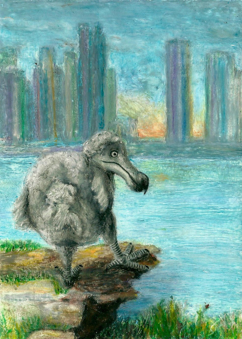 Dodo on a Cliff in Front of a Cityscape