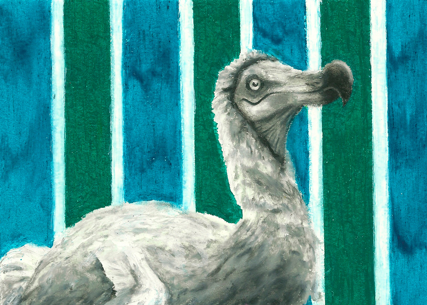 Dodo with Striped Wallpaper