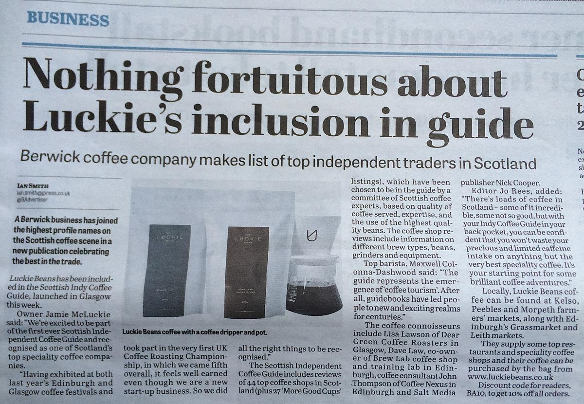 Berwick Advertiser Article   On the back of our inclusion to the Scottish Independent Coffee Guide it was great to see the local press writing about us.