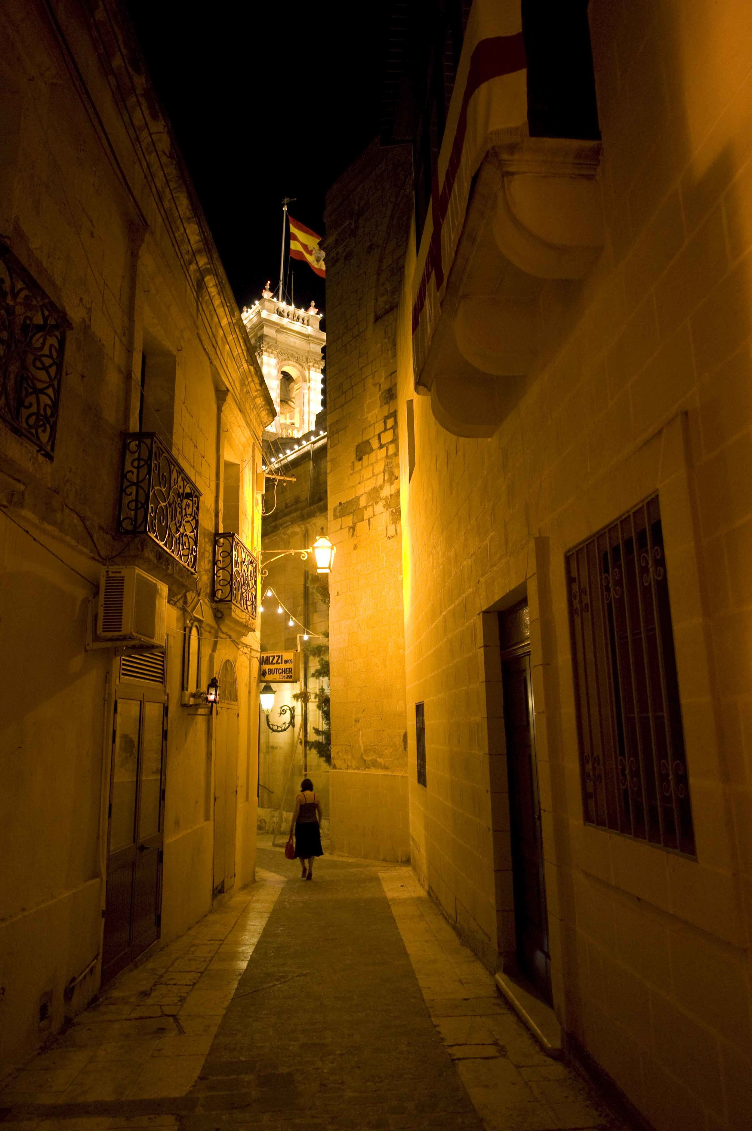 Gozo - Victoria Streets By Night by Ted Attard