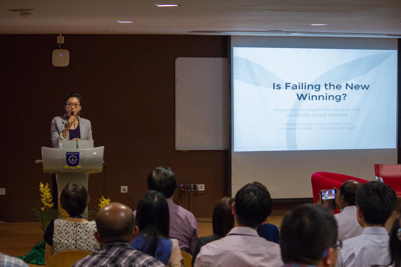 Huijia giving her keynote speech.