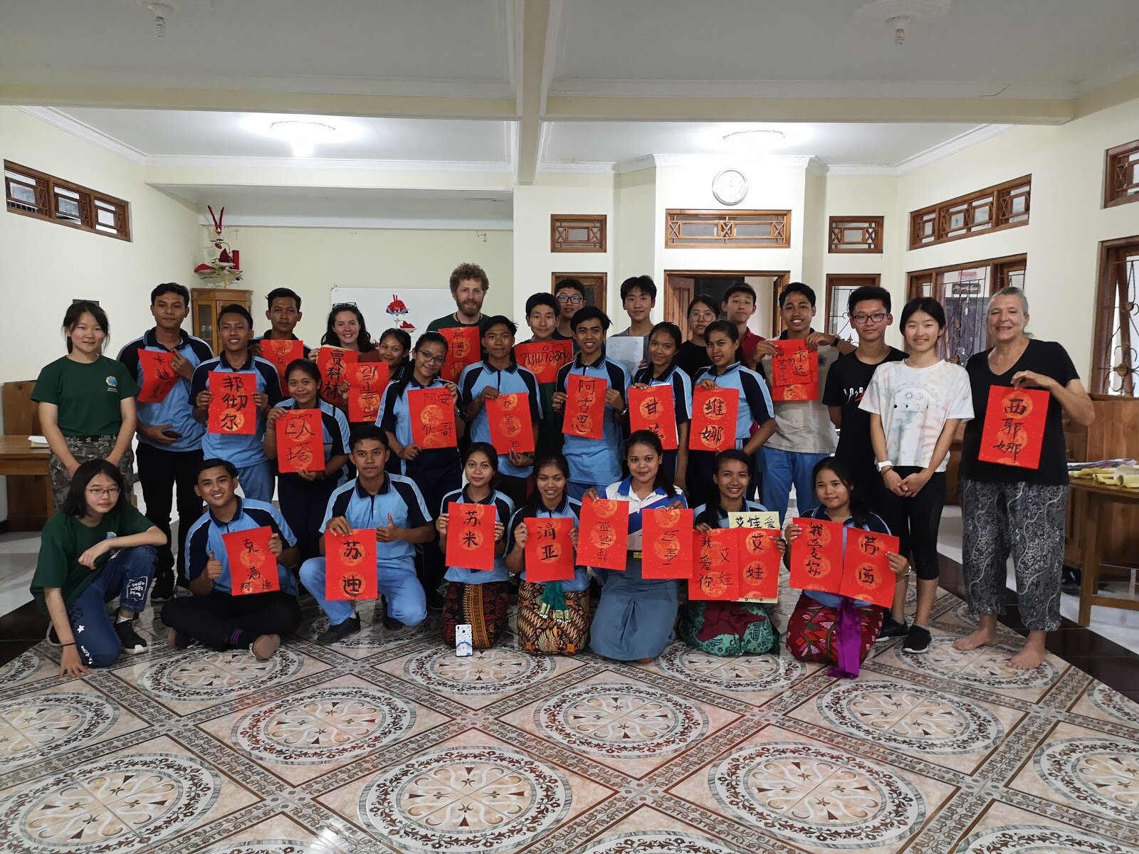The Cultural Exchange session where the Keystone youths shared their gifts with the Balinese students through Chinese Calligraphy.