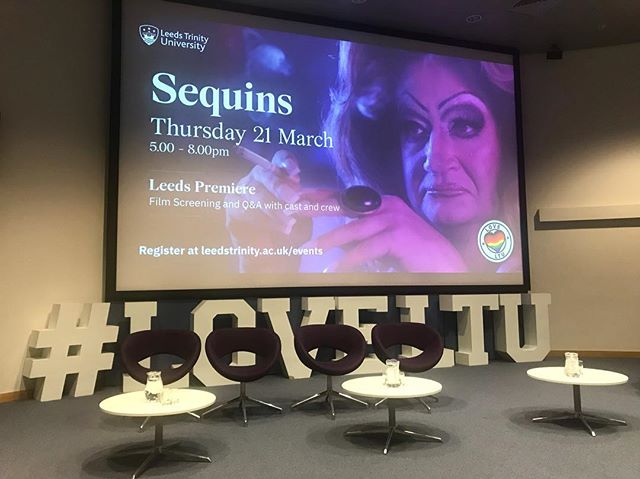 At Leeds Trinity University almost ready to screen Sequins for the students and other guests with a Q&A to follow featuring Director @michaeljbeddoes, Sound Designer @lubos_jurik and our lead actor @robbiegaskell. #trinityleeds #sequinsfilm #shortfilm #dragfilm #lgbtq #lgbtfilm #dragqueen #leeds #filmscreening #writer #director #actor #jamesdreyfus #Q&A #yorkshire