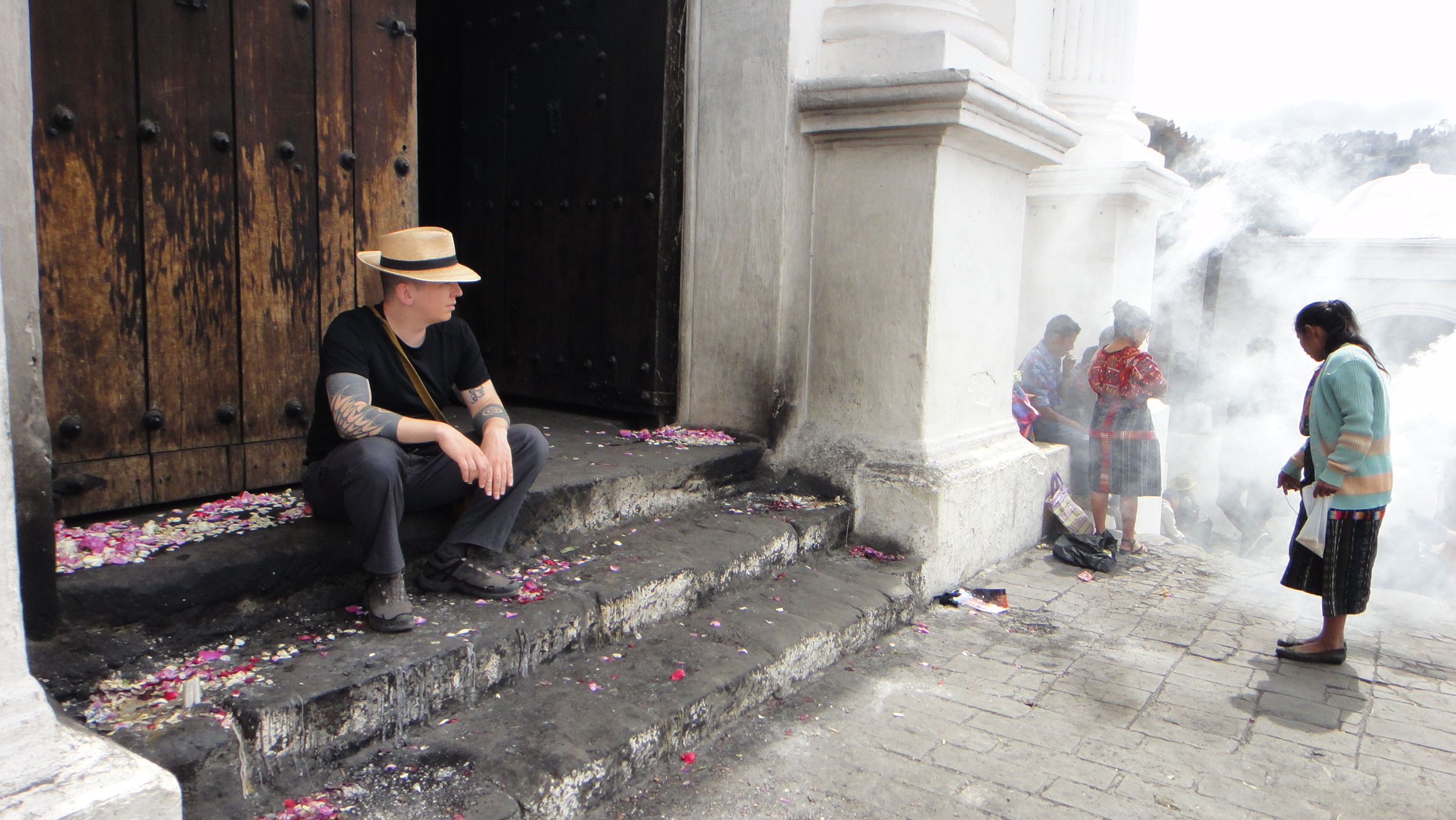 Copal being burned outside a church in Chichicastenango, Guatemala where Mayan and Catholic traditions mix seamlessly.