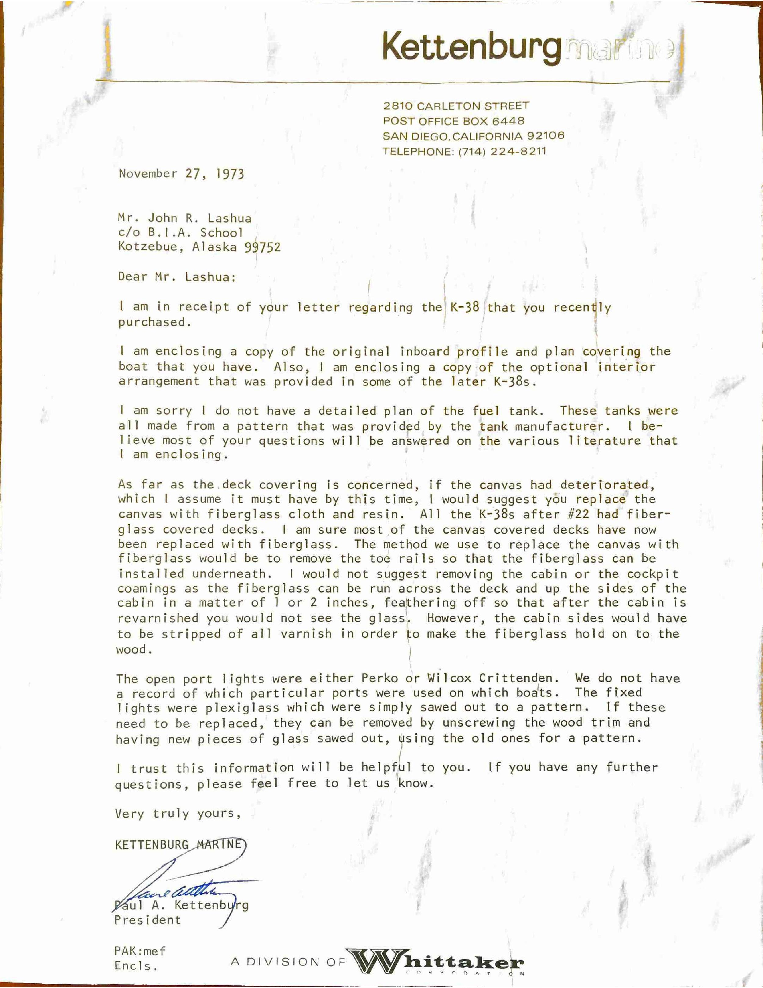 "Letter from the actual designer/builder who built the K-38 in 1951. This letter is dated 27NOV1973, almost 21 years after launch ""somewhere"" in 1951."