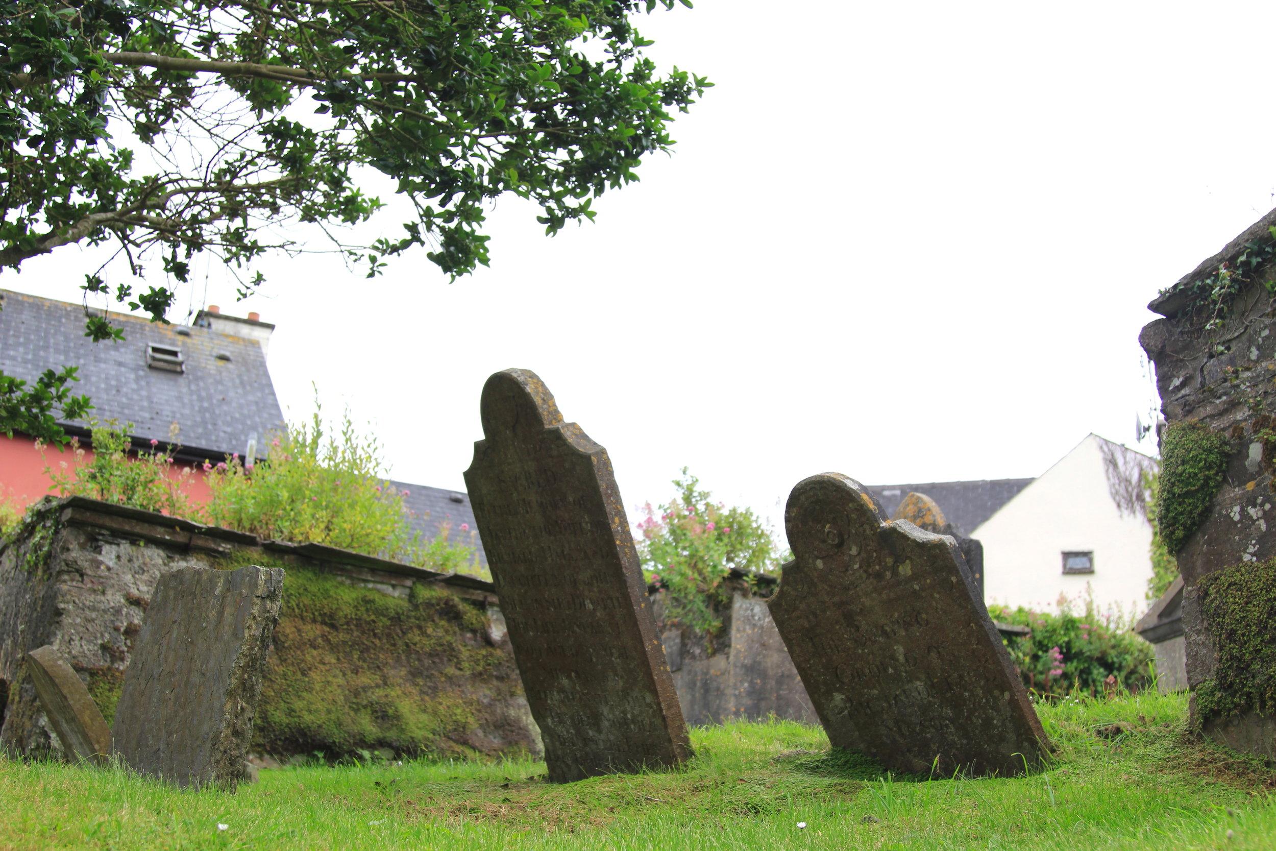 Old gravestones at St. Multose Church, Ireland