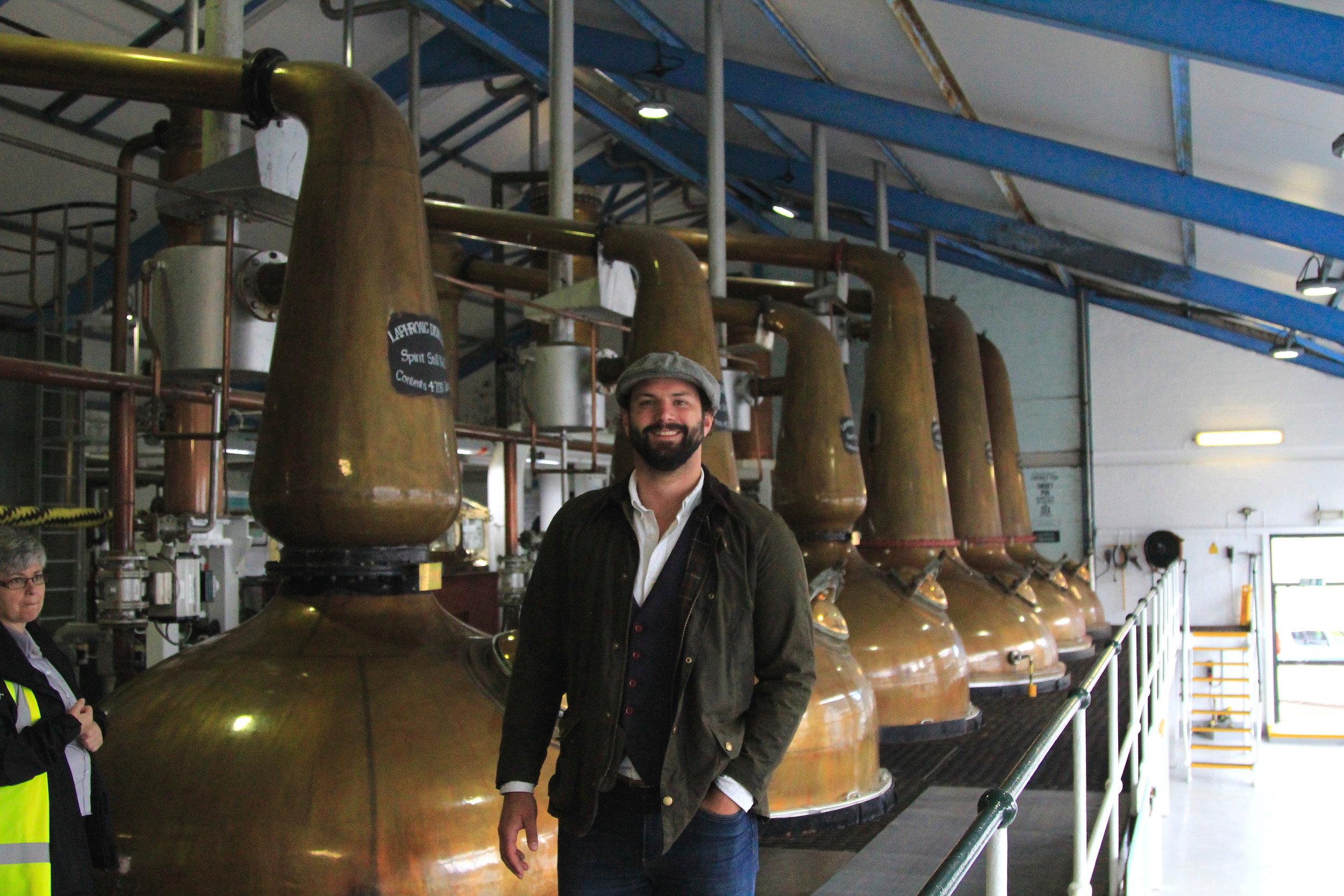 Happy husband in Laphroaig distillery