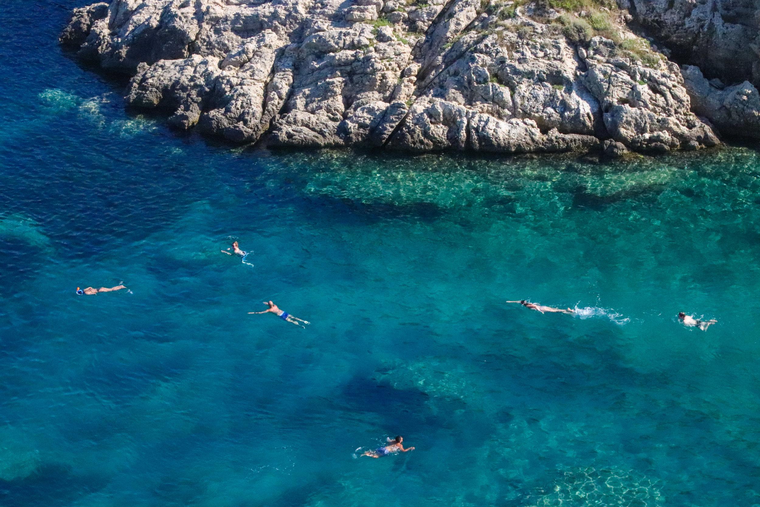 swimming in Corfu, Greece