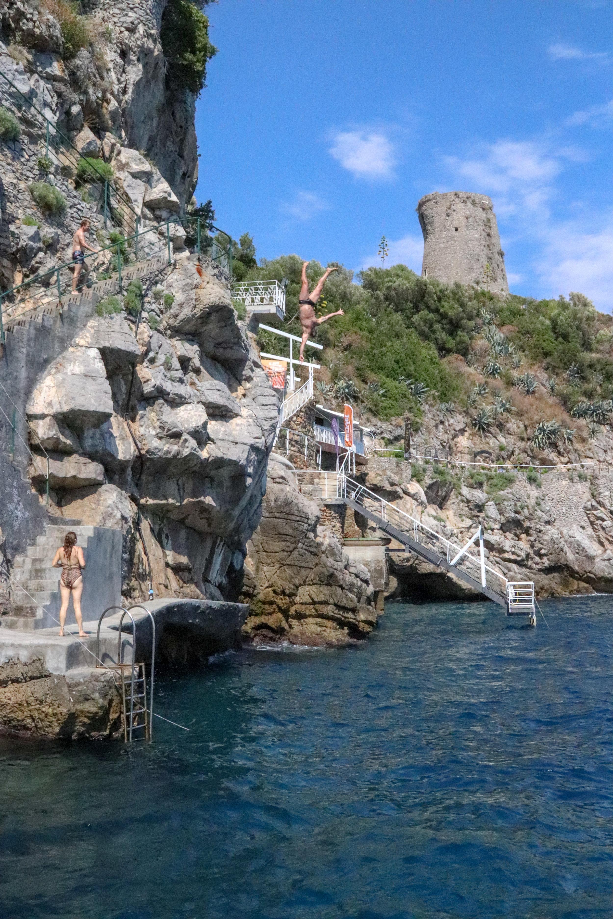 high dive off of the amalfi coast