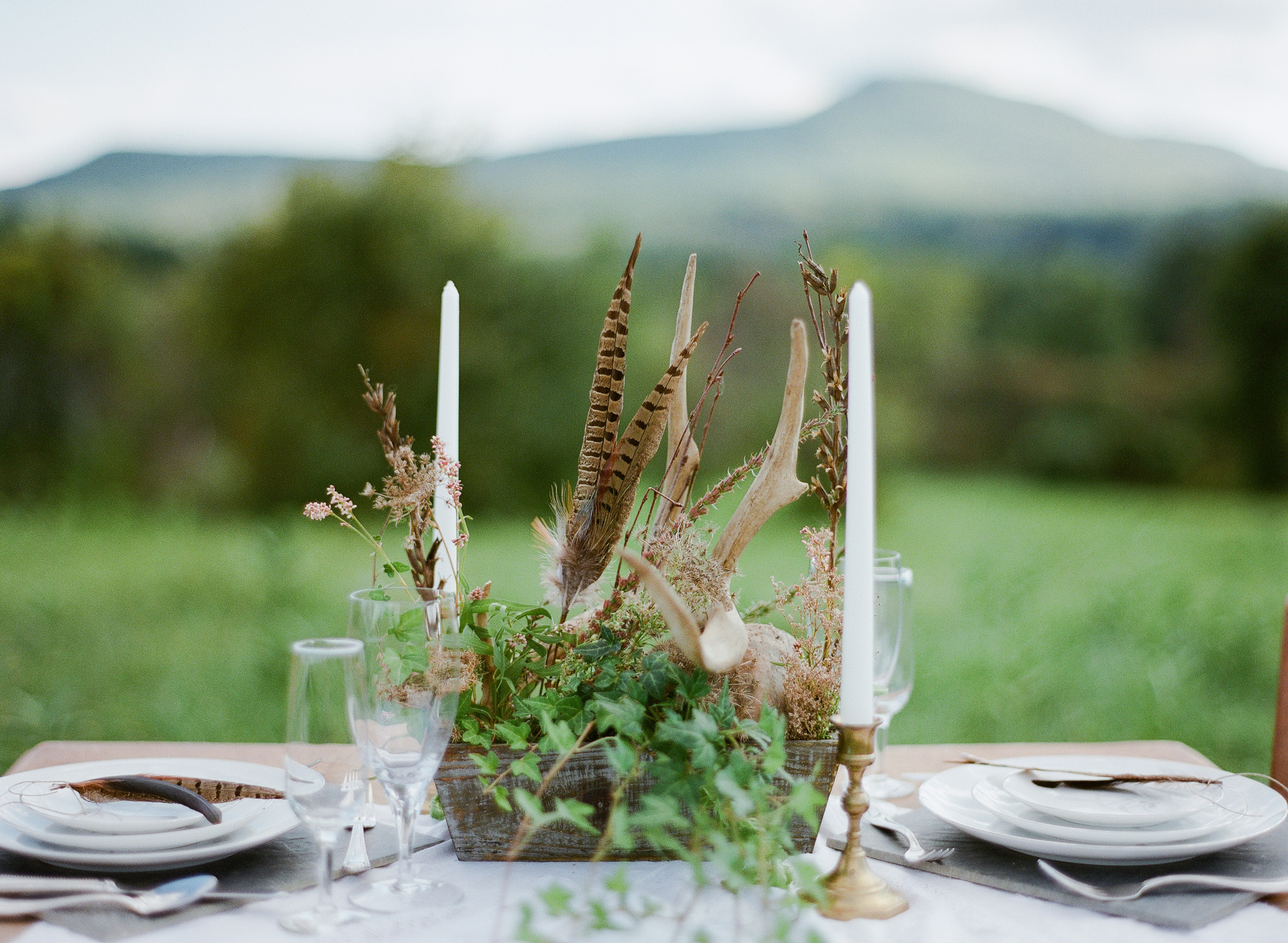 Bohemian outdoor wedding table in Amherst MA