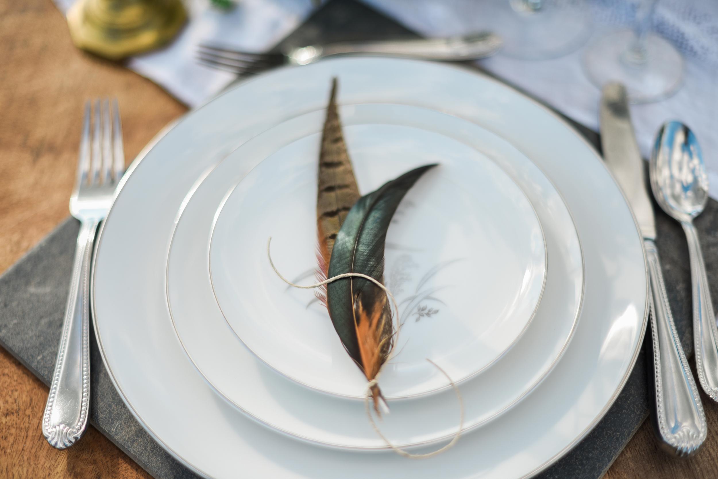 Pheasant Feather Wedding Detail