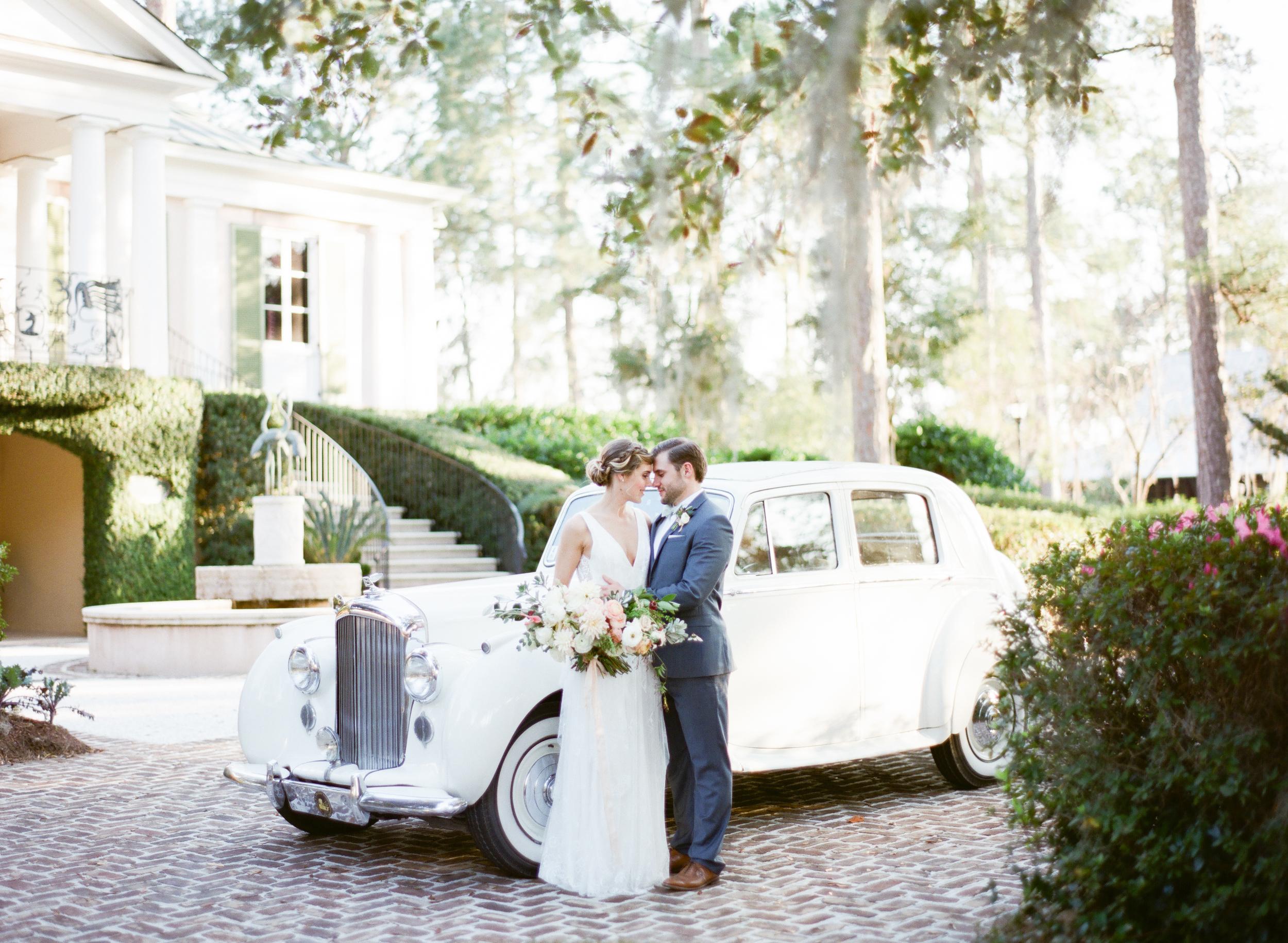 Vintage Car Wedding Portrait, Savannah