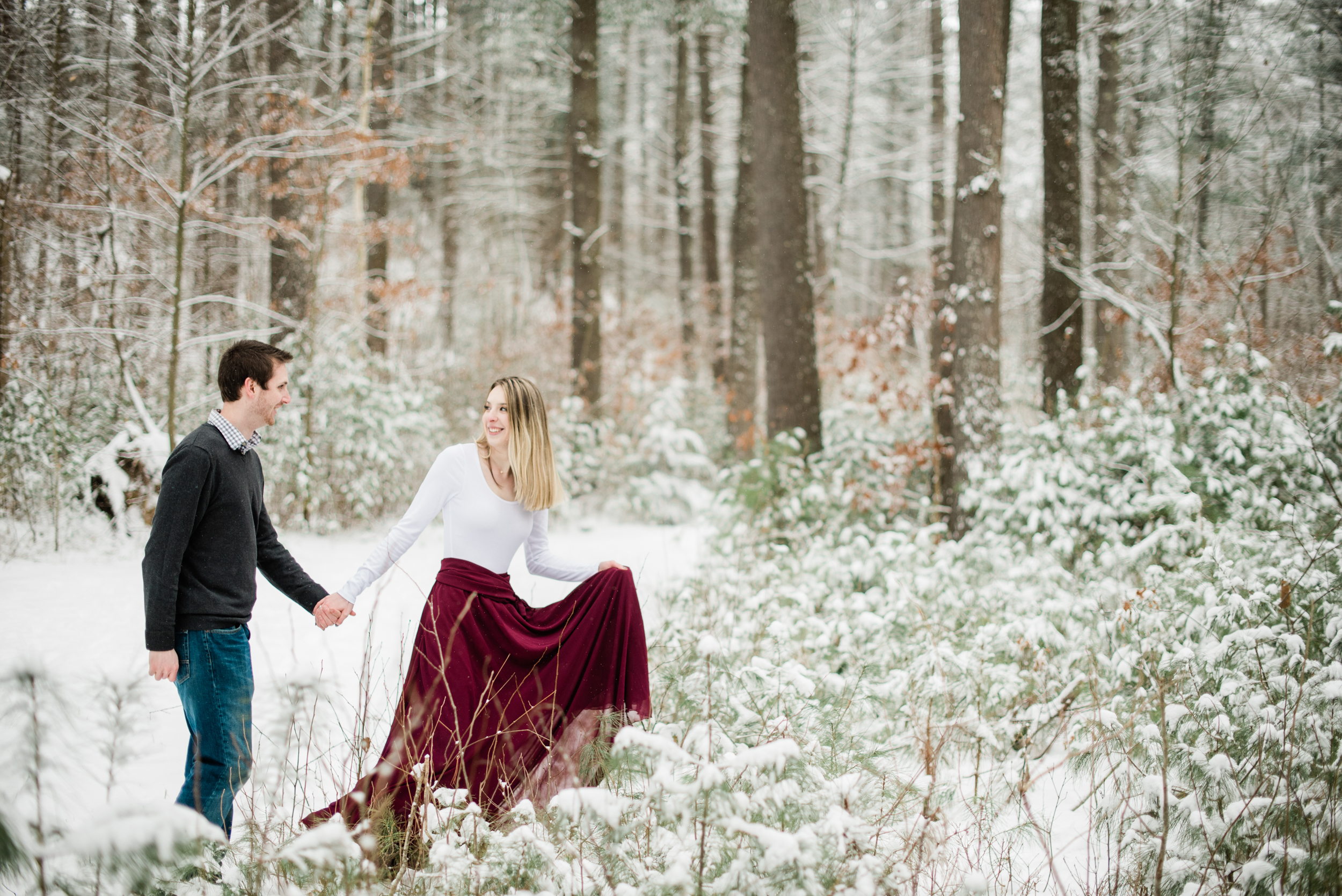 Winter Engagement Session in Amherst MA