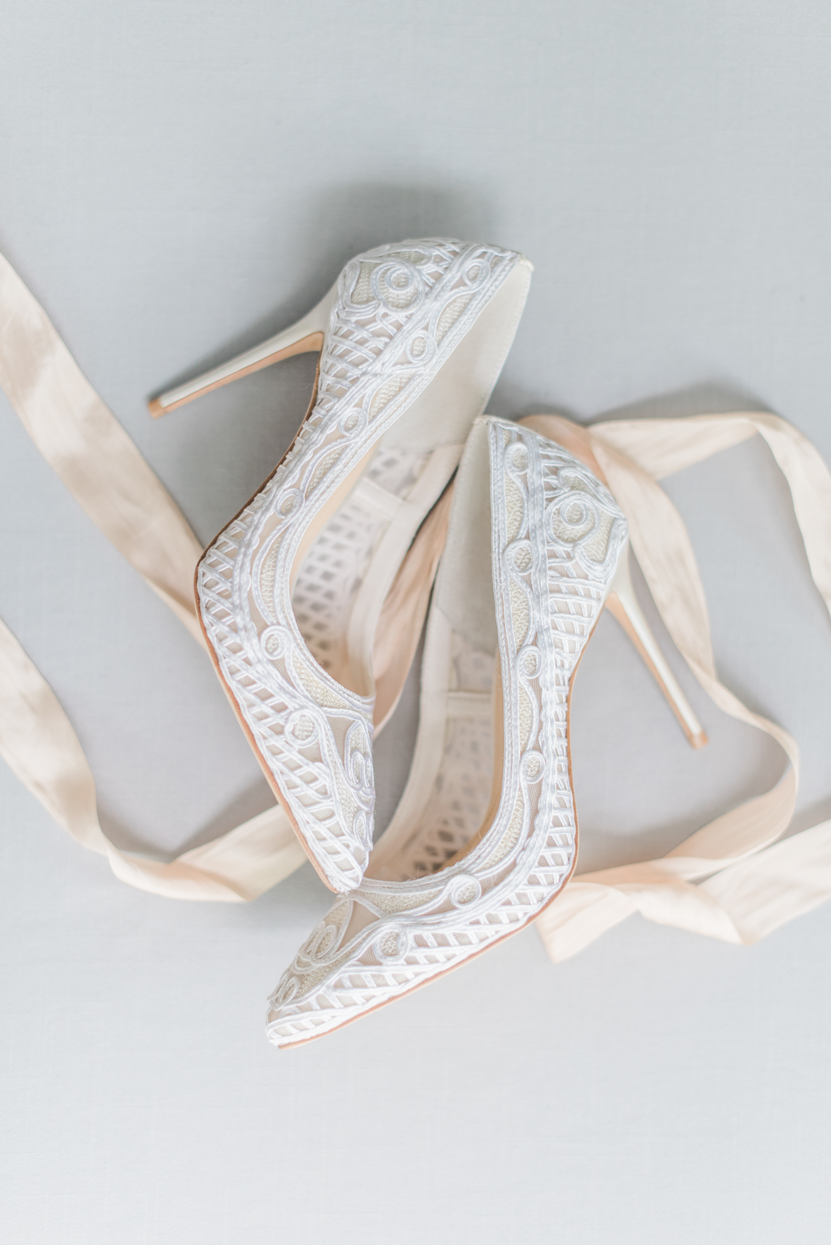 White Lace Bridal Heels
