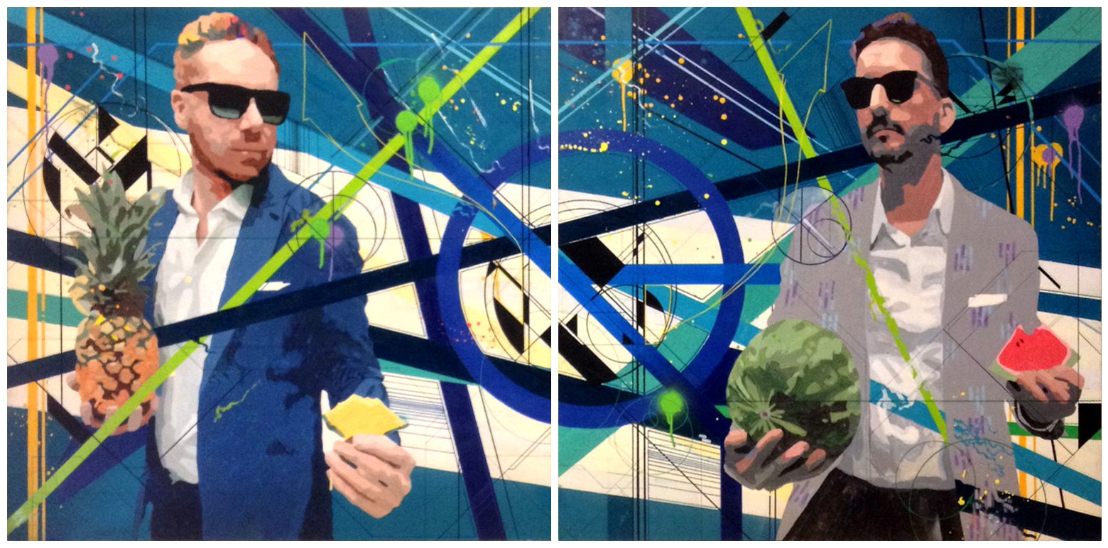 Summer Fruit & Summer Suits  |   Acrylic and Spray Paint on Wood Panel |Diptych: Two 48in x48in Canvases |2015