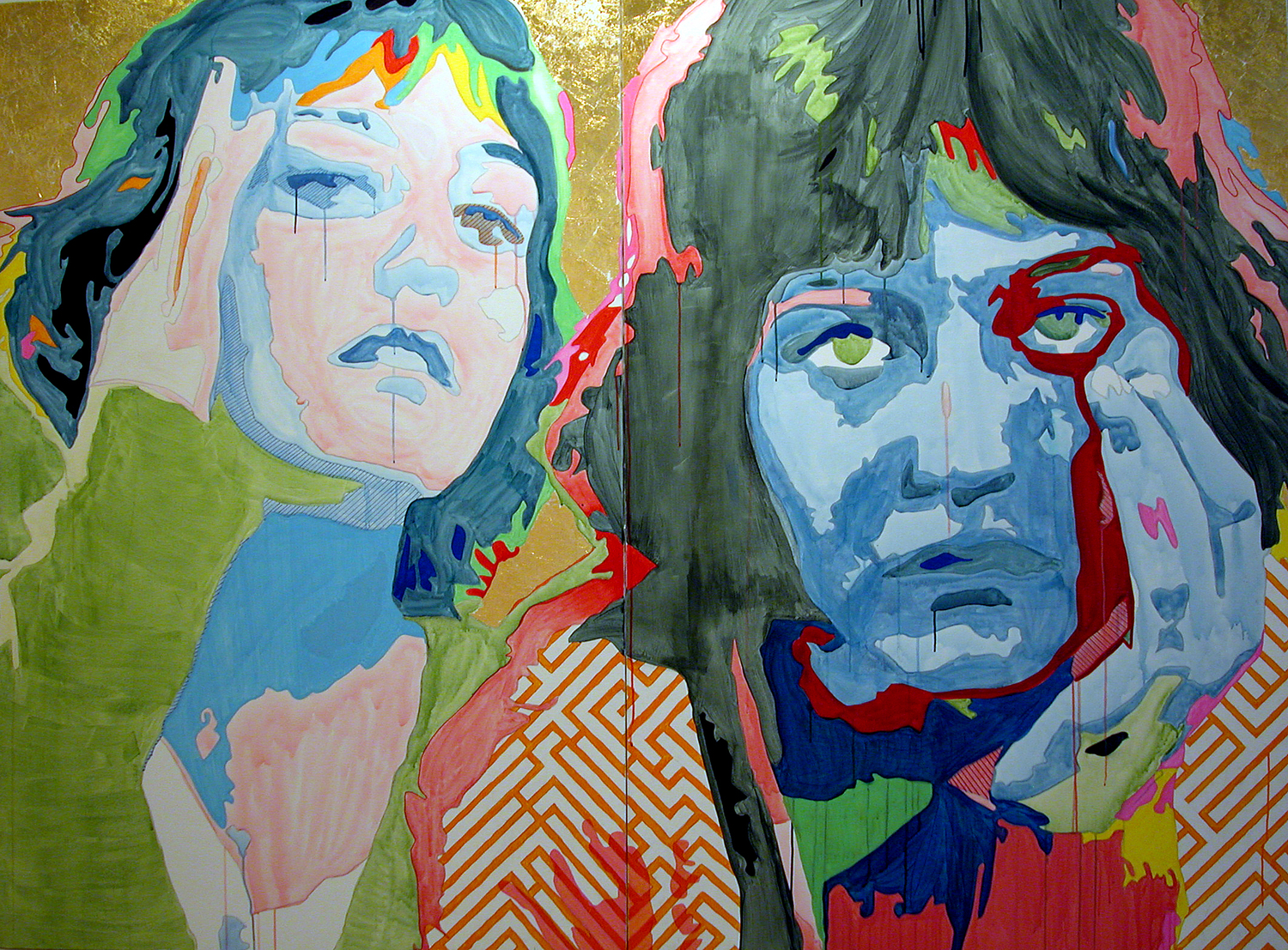 St. Elsa | Acrylic, Gouache and Gold Leaf on Canvas |Diptych: Two 50in x 74in Canvases |2005