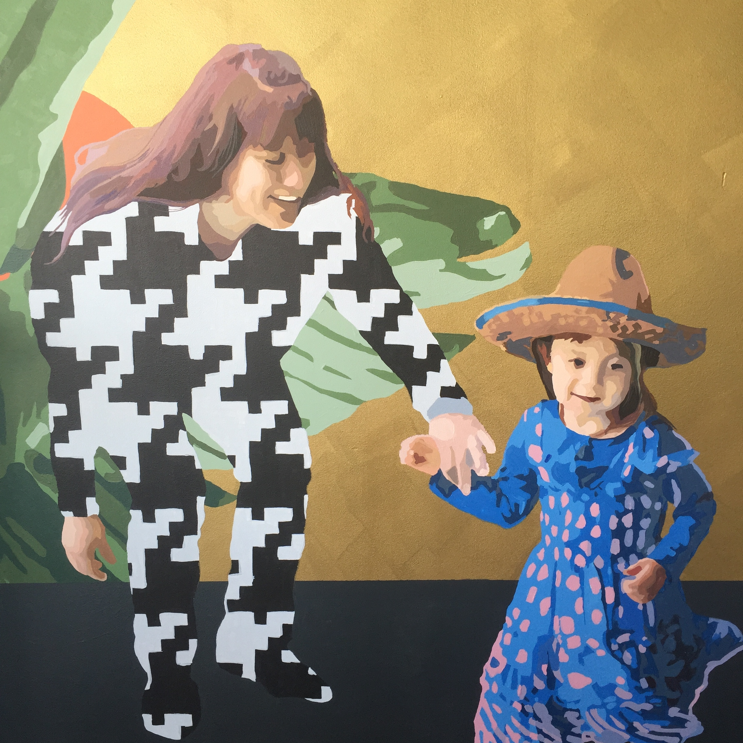 Mother in Houndstooth with Child in Sombrero