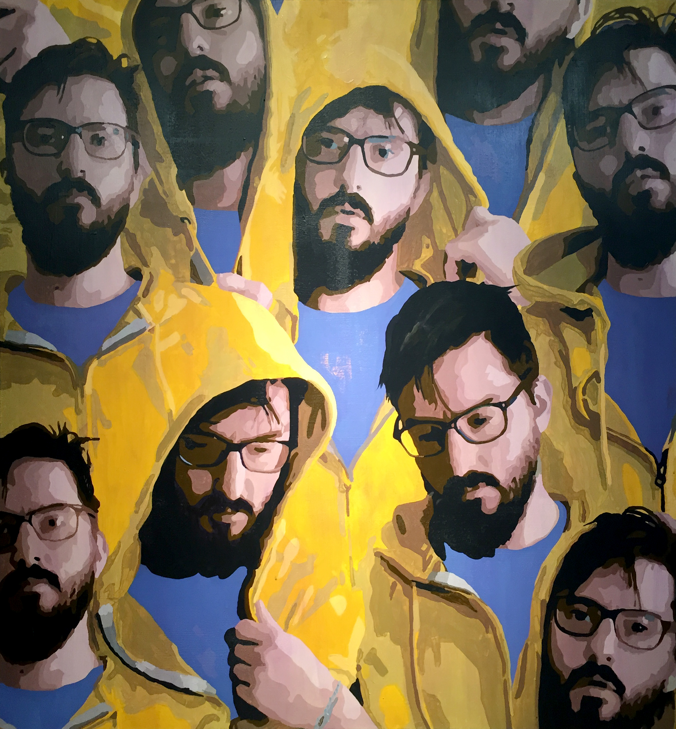 A Range Of Mostly The Same Emotions In A Yellow Hood  Acrylic on Canvas  60 x 60 in (152.4cm x 152.4cm)