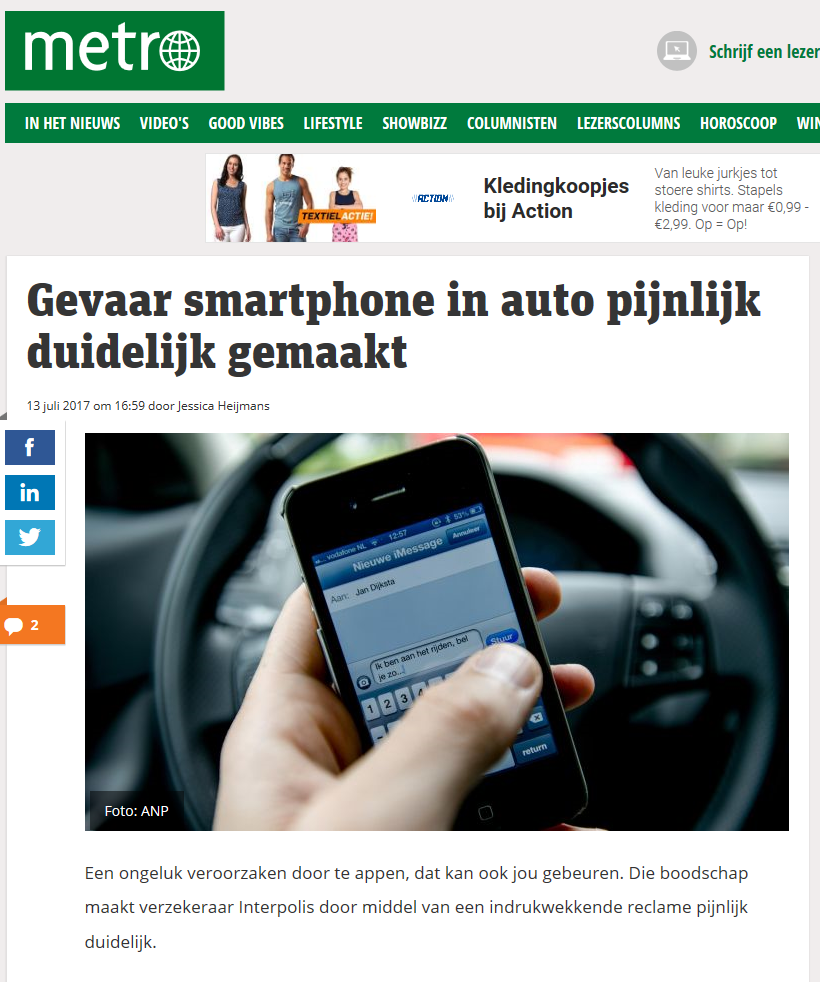 INTERVIEW METRO NIEUWS OVER GEVAAR SMARTPHONE GEBRUIK IN AUTO. KLIK OP FOTO VOOR HELE ARTIKEL