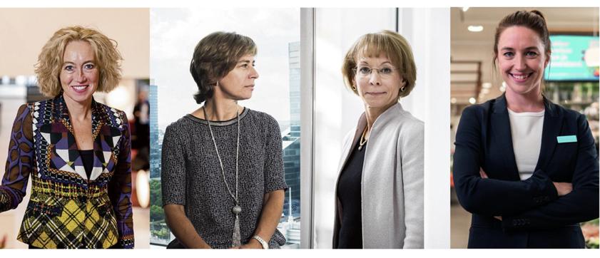 Vlnr: onlangs benoemde topvrouwen bij Nederlandse beursgenoteerde ondernemingen: Dominique Leroy van KPN, Herna Verhagen van PostNL, Nancy McKinstry van Wolters Kluwer en Ilse van Albert-Heijn.