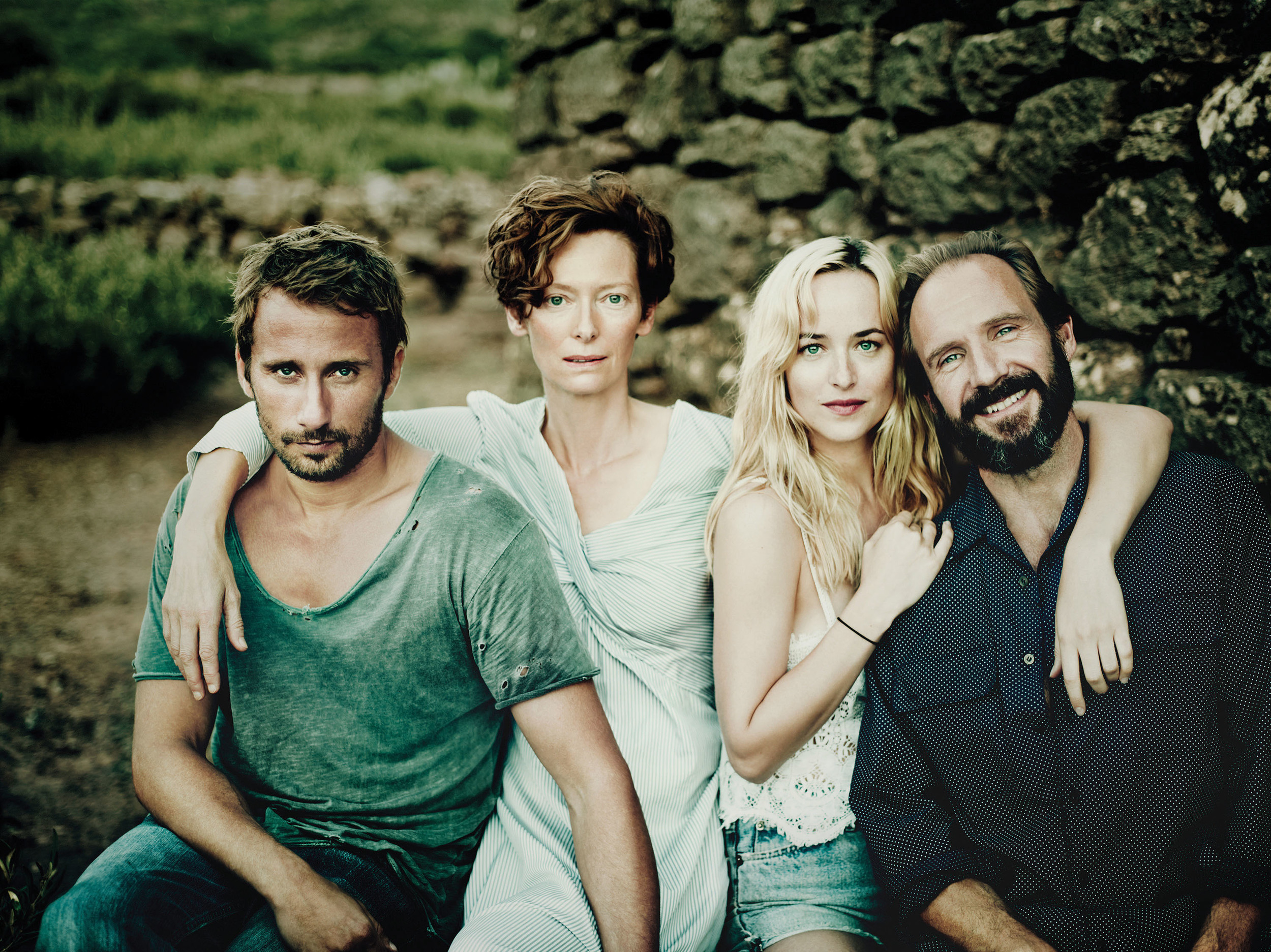 Jean-Paul/Paul (Matthias Schoenaerts),Marianne (Tilda Swinton), Penelope (Dakota Johnson) and Harry (Ralph Fiennes) in  A Bigger Splash