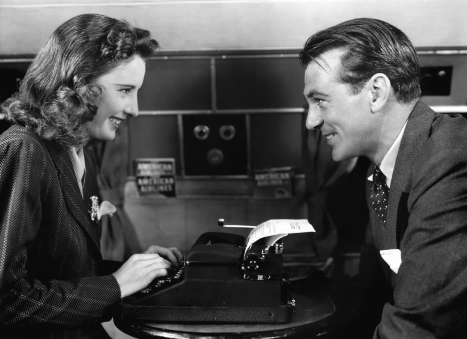 Barbara Stanwyck and Gary Cooper as reporter Ann Mitchell and former hobo Long John Willoughby