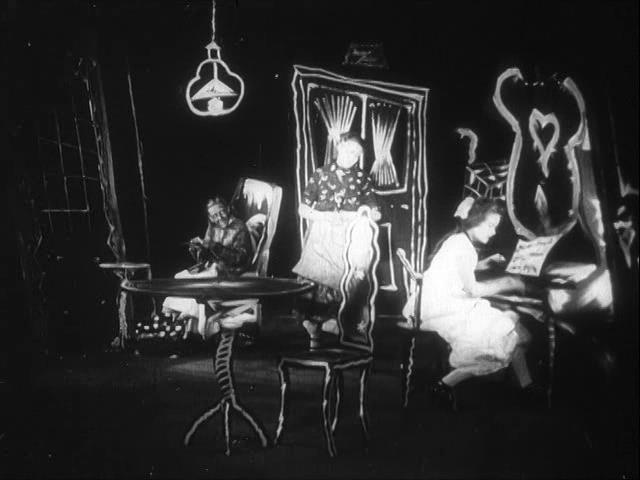 From Morning to Midnight, released a few months after The Cabinet of Dr. Caligari, features even more radically distorted sets