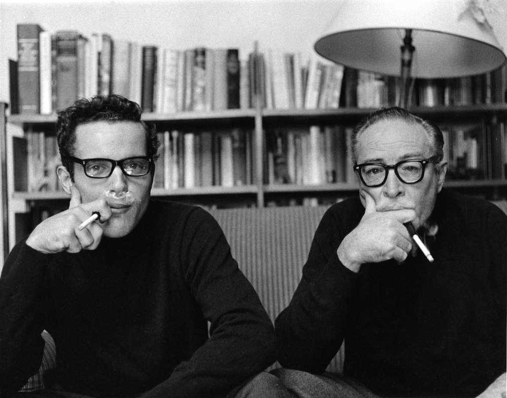 Christopher Trumbo (left) and his father, Dalton Trumbo (right)