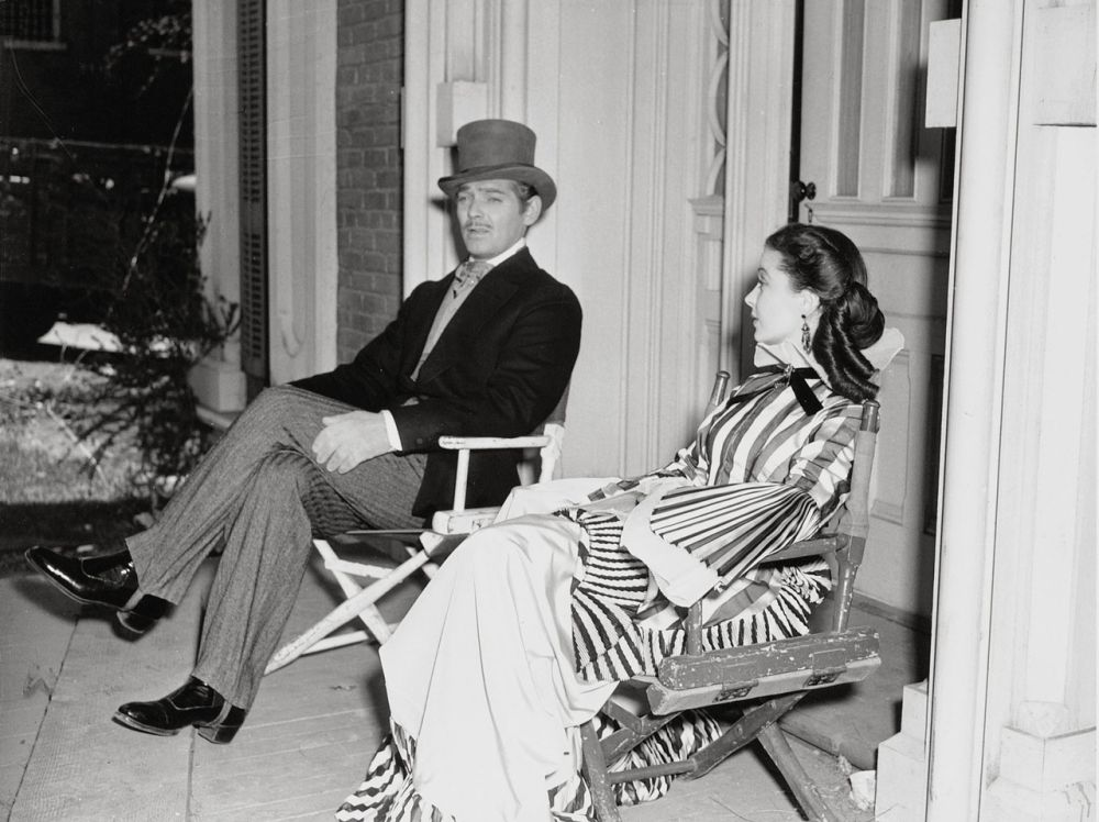 Vivien Leigh, Clark Gable, and Fleming on the set of   Gone With the Wind