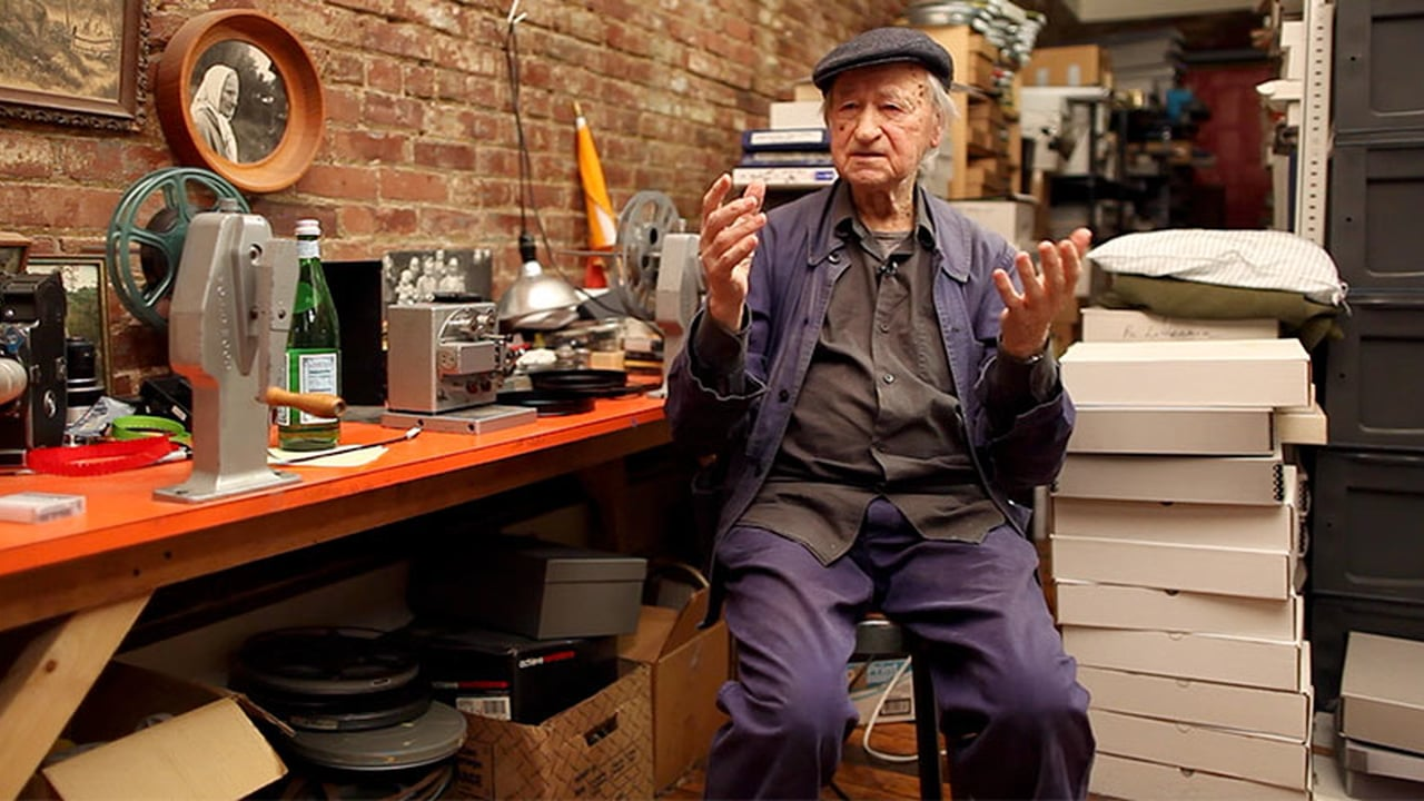 Jonas Mekas in his workspace in Brooklyn, NY.