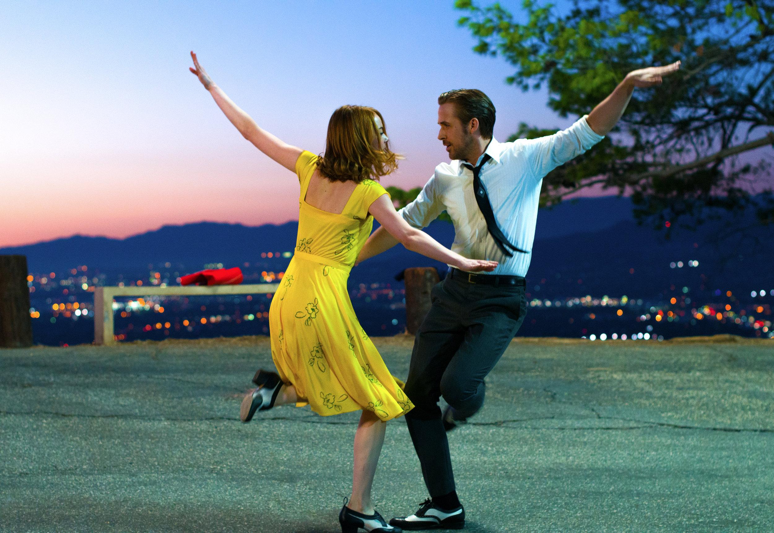 Emma Stone and Ryan Gosling in   Damien Chazelle's  La La Land.