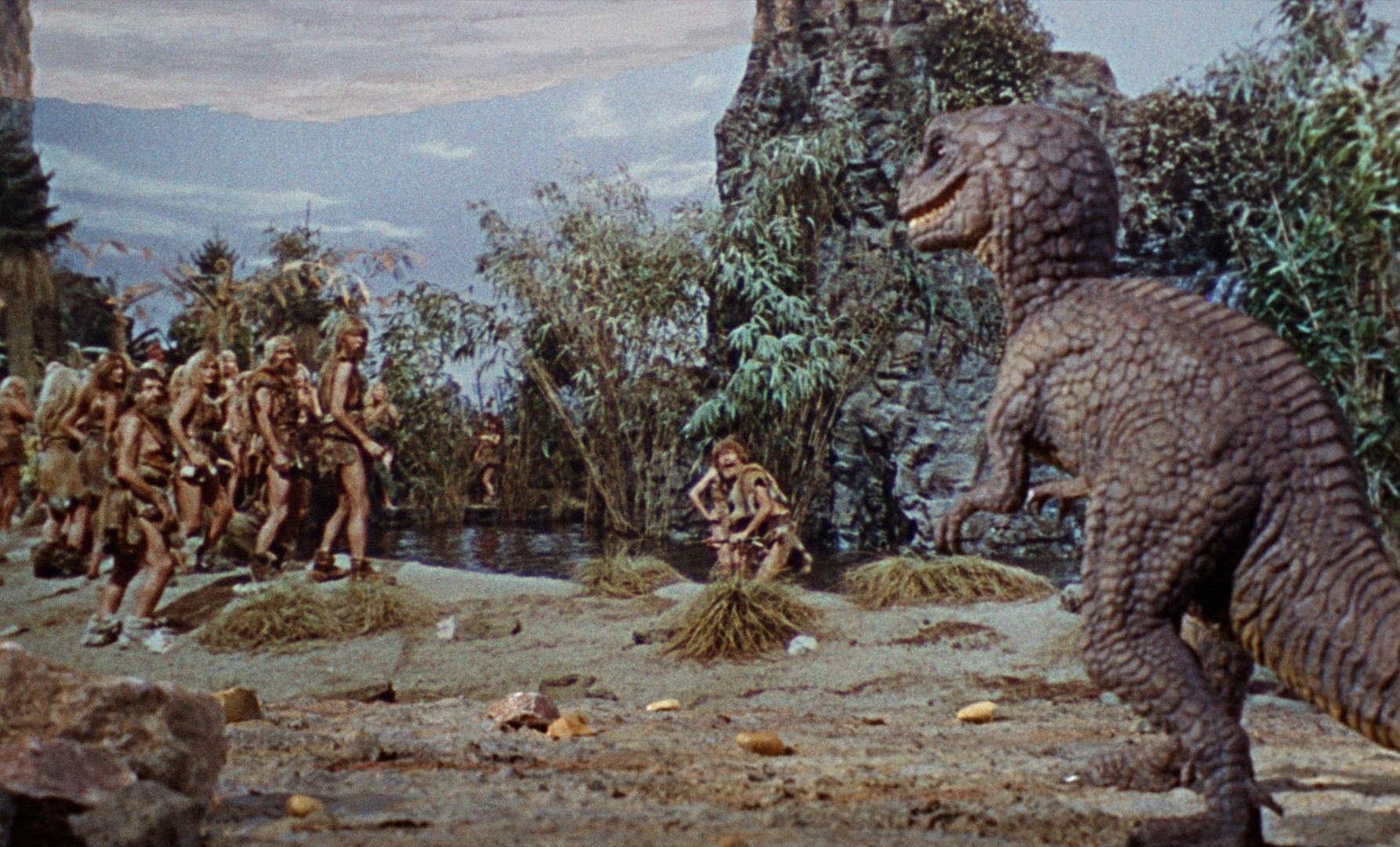 An Allosaurus confronts the Shell People in  One Million Years B.C.