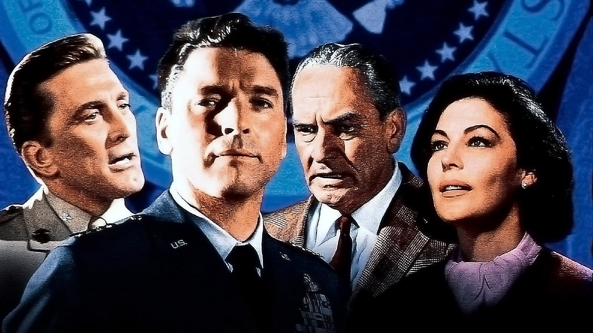 Poster art featuring the principal protagonists in John Frankenheimer's  Seven Days in May.