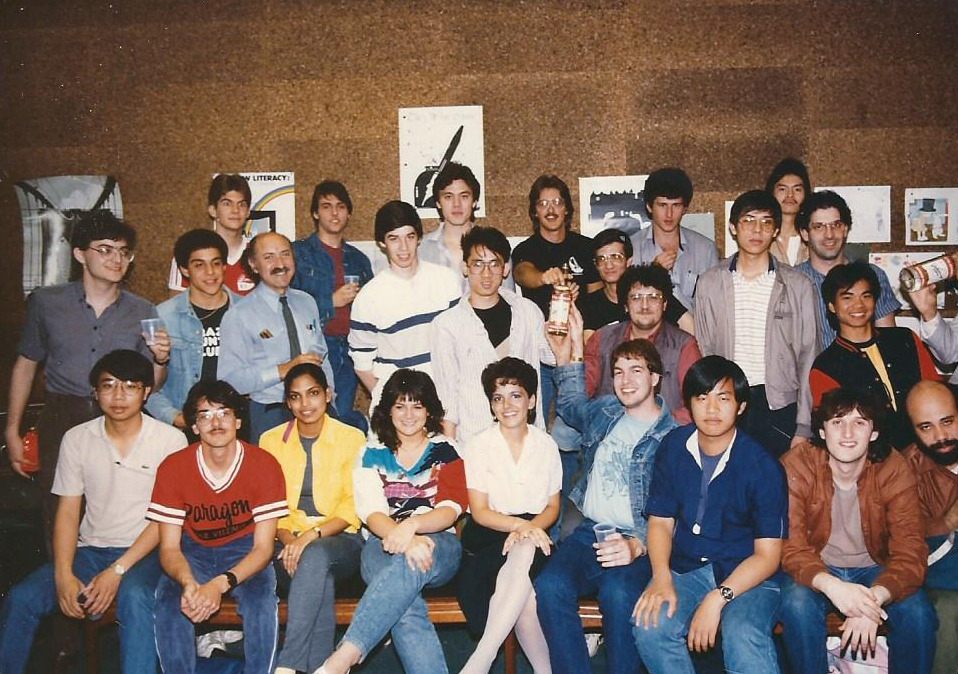 """A """"minicourse"""" class at Brooklyn Poly,1995. Note the bottles of Stoli held by a couple of students. The author appears in the 2nd row, 3rd from left."""