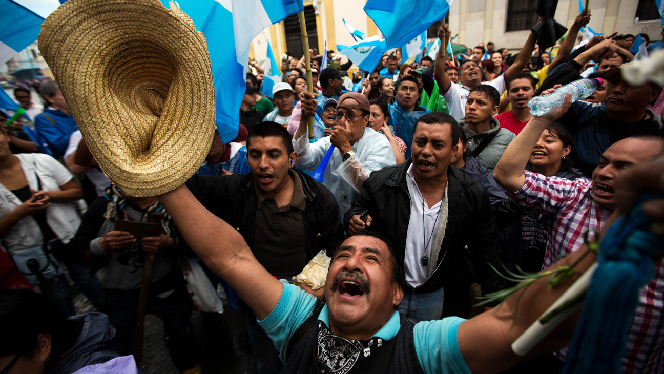 Jubilation at Protest: The culmination of the citizen's uprising in  500 Years  was the bringing down of the President and Vice-President of Guatemala who are now in jail awaiting trial.