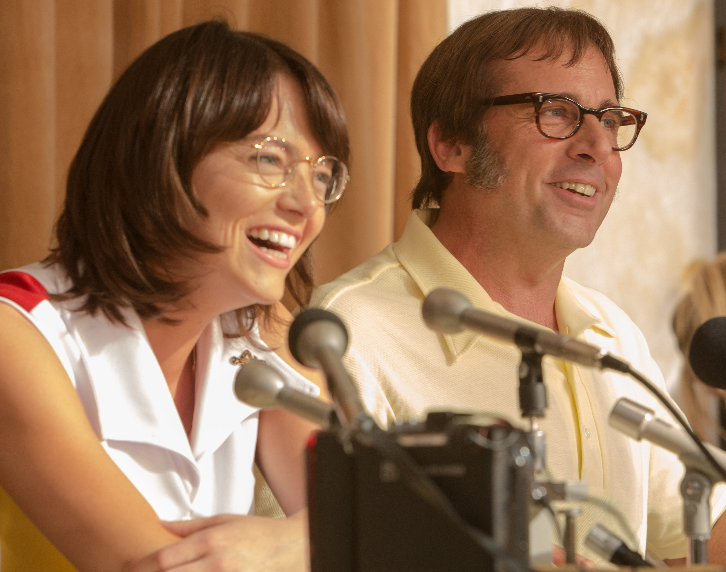 Emma Stone as Billie Jean King and Steve Carell as Bobby Riggs.