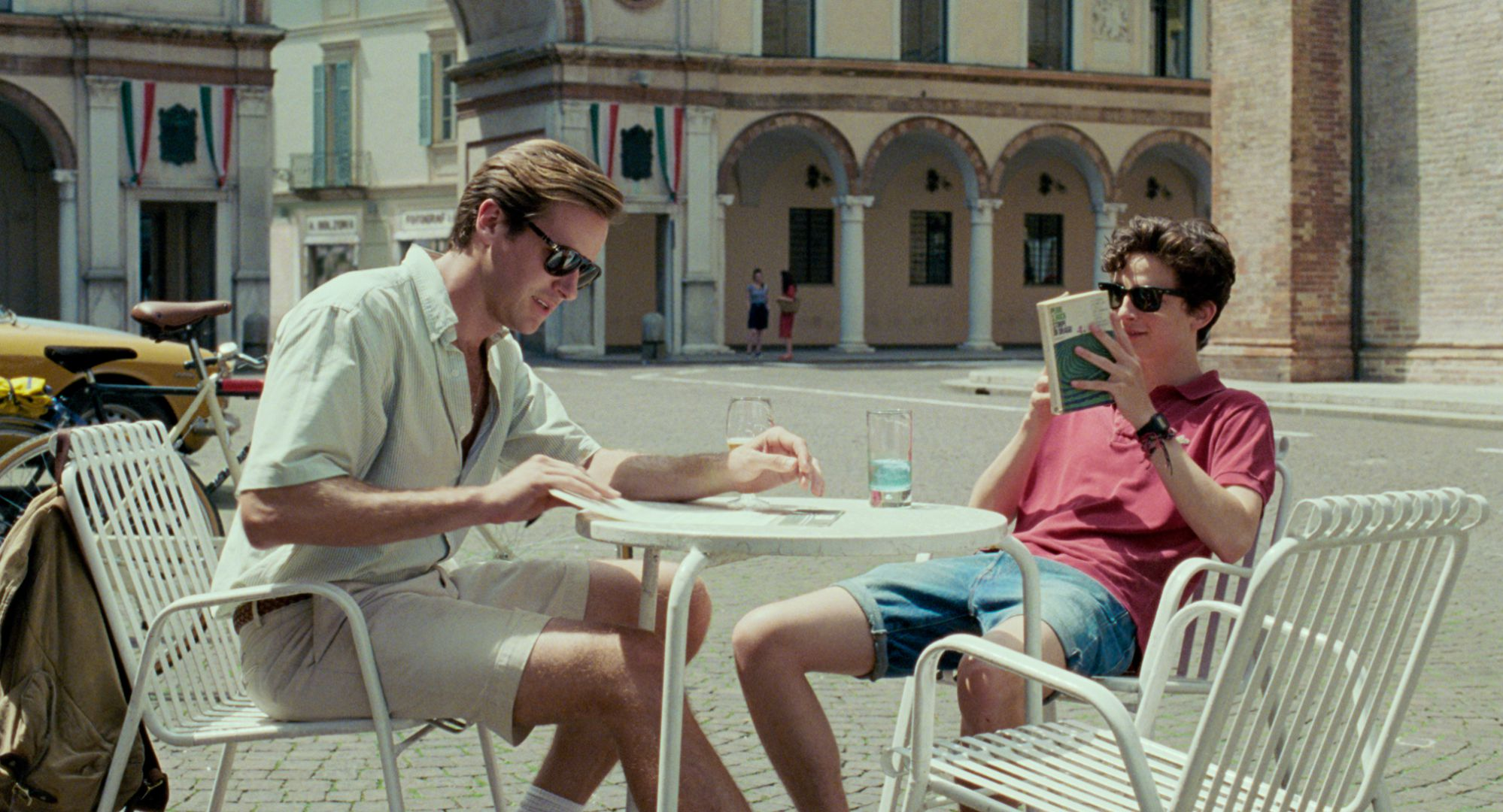 Oliver (Armie Hammer) and Elio (Timothée Chalamet) spend a day touring the nearby countryside.